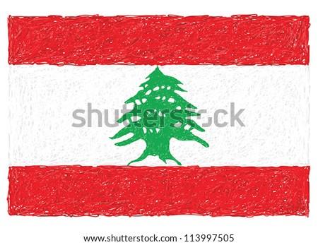 hand drawn illustration of flag of lebanon - stock vector