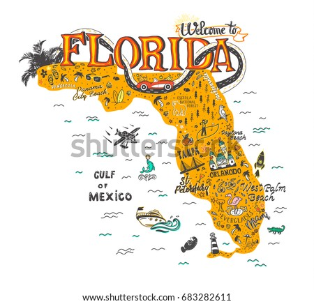 Hand Drawn Illustration Florida Map Tourist Stock Vector - Florida map