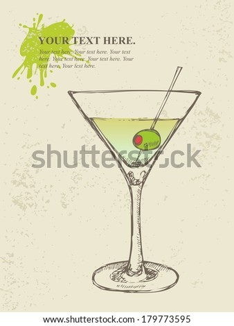 Hand drawn illustration of iced cocktail with olive - stock vector