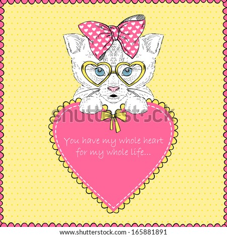 Hand Drawn Illustration of Kitten Girl with Heart, Valentine Day, Love - stock vector