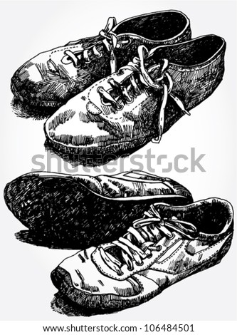 Hand Drawn Illustration of Old Vintage Shoes - stock vector