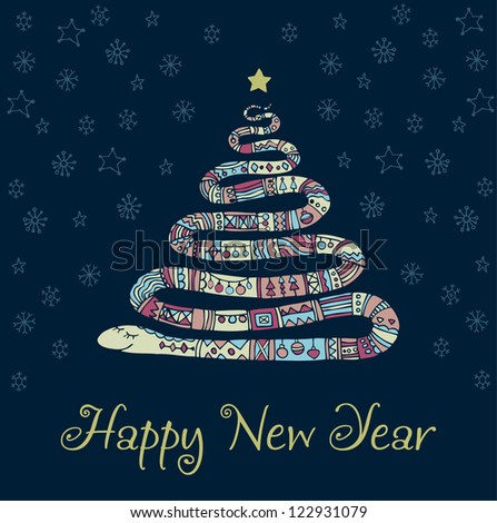Hand drawn illustration of ornamental snake and sample text. Design template for New Year's Greeting - stock vector