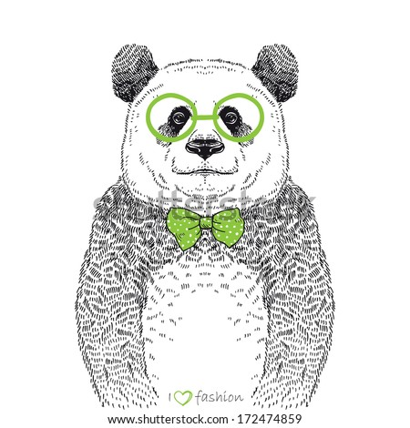 Hand drawn illustration of panda hipster isolated on white - stock vector