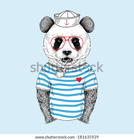 Hand drawn illustration of panda sailor with pipe, navy style  - stock vector