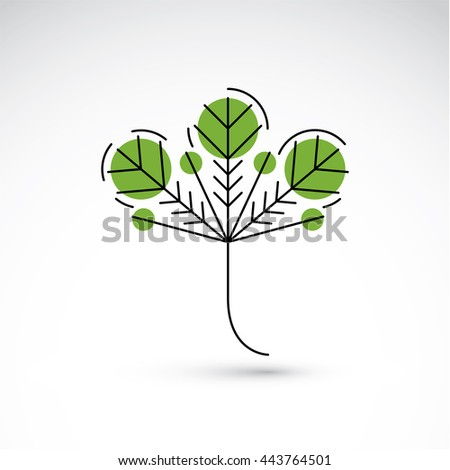 Hand-drawn illustration of simple tree leaf isolated. Green foliage, spring herb. Vector botanical symbol can be used as design element in ecology conservation theme. - stock vector