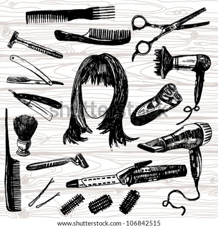 Hand Drawn Illustration of Some Barber's Stuff - stock vector