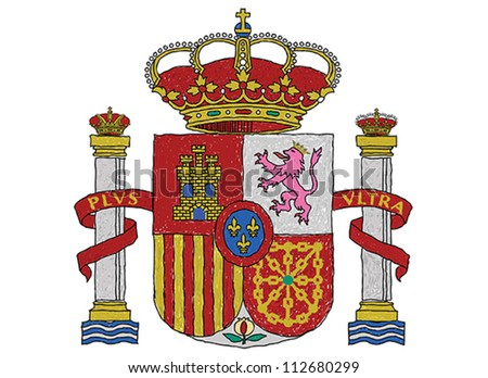 hand drawn illustration of spain coat of arms. - stock vector