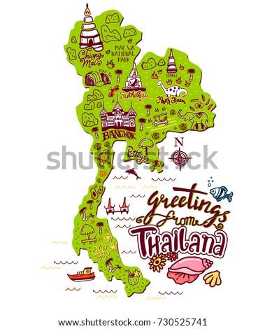 Hand Drawn Illustration Thailand Map Tourist Stock Vector 730525741