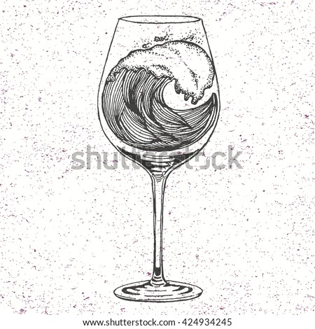 Hand drawn illustration of wave in wine glass in line art style with engraved elements. Tattoo sketch isolated on vintage background for web print brochure. Vector Decorative Patterned Design - stock vector