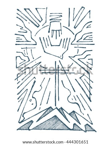 Hand Drawn Illustration Drawing Holy Trinity Stock Vector 2018
