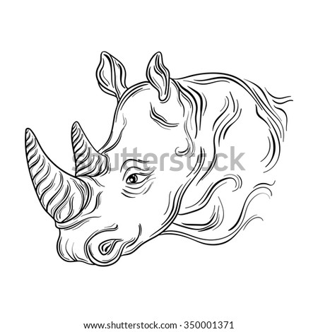 "Hand drawn illustration ""Rhinoceros head"" was created in black and white colors.  Painted image is isolated on white background."