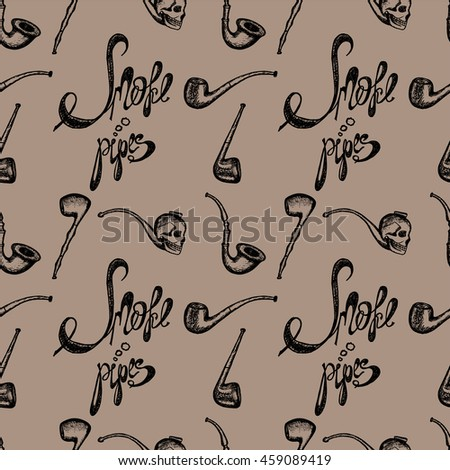 Hand drawn illustration, set of smoke pipes, lettering smoke pipes, seamless pattern on beige background