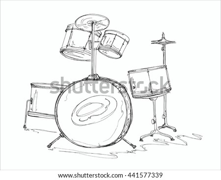 Hand drawn illustration sketch of drum set(kit) vector - stock vector