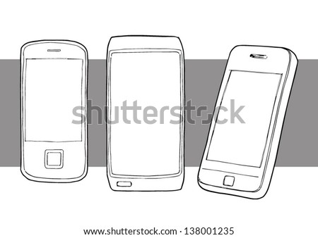 Hand drawn illustration various mobile phones - stock vector