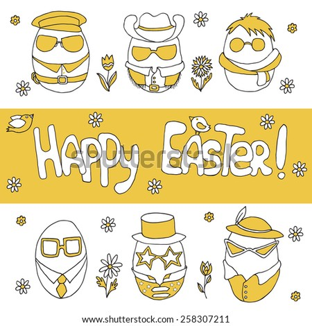 Hand-drawn illustration with easter eggs, flowers and birds on isolated background - stock vector