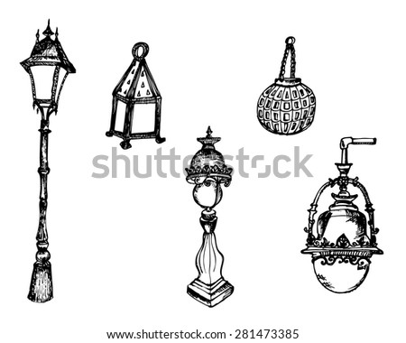 Hand drawn illustration with old street lamps collection - stock vector