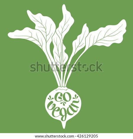 Hand drawn illustration with vegetable and lettering. Sketch background vector. Poster design Go vegan. Graphic backdrop with healthy food - stock vector