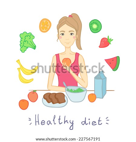 Hand drawn illustration  - woman with salad isolated on white. Healthy diet. Fruits and vegetables.  - stock vector