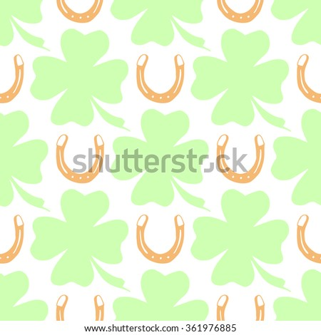 Hand-drawn illustrations. Happy day with a horseshoe and clover. Seamless pattern. - stock vector