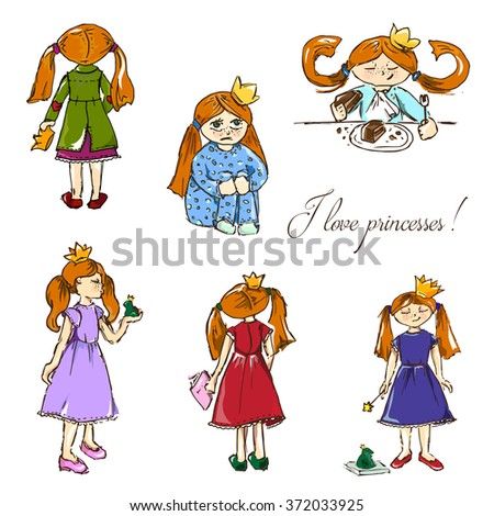 Hand-drawn illustrations. I love princesses. Postcard with red girls in crowns. Seamless pattern.