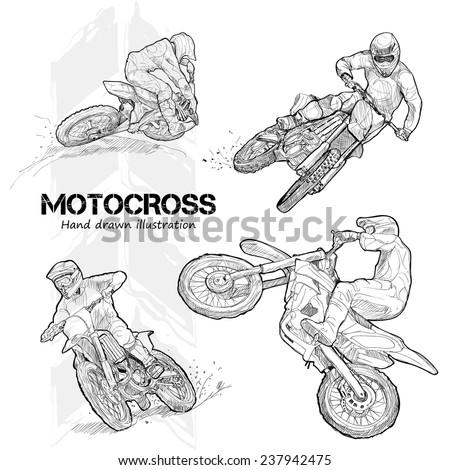Hand drawn illustrations of motocross. - stock vector