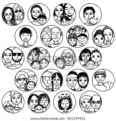 Hand drawn images of families, couples, friends, siblings, singles... multicultural, multiethnic, mixed & patchwork - #1 in black and white