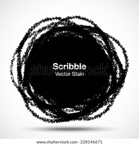 Hand Drawn in Pencil Scribble Circle, vector logo design element - stock vector