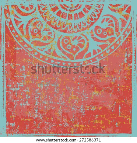 Hand drawn  indian vintage red  backdrop. All objects are conveniently grouped  and are easily editable. - stock vector