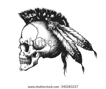 Hand Drawn Indian Warrior Skull With Mohawk Vector Illustration