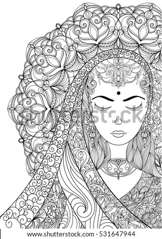 Handdrawn Indian Woman Patterned
