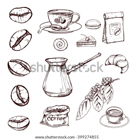 hand drawn ink coffee beans, sketch of coffee beans. vector eps 10 - stock vector
