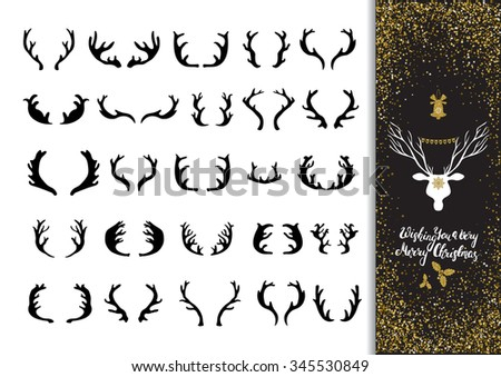 Hand drawn ink deer antlers  icons set. Xmas greeting card with lettering, golden glitter design elements on the abstract confetti background. - stock vector