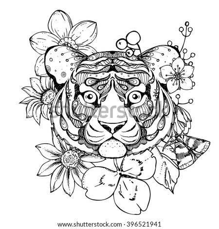 Hand Drawn Ink Doodle Tiger And Flowers On White Background Coloring Page