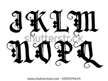 Hand Drawn Ink Gothic Style Lettering Alphabet Typographic Decorative Font Letters JK