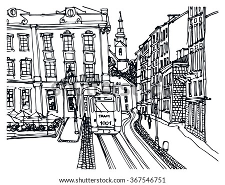Hand Drawn Ink Line Sketch European Town Historical Architecture Like Lvov Old