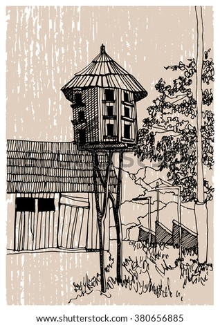 Hand drawn ink line sketch European town or village, traditional landscape in Ukraine  in outline style. Ink drawing of country, bird feeders, perspective.