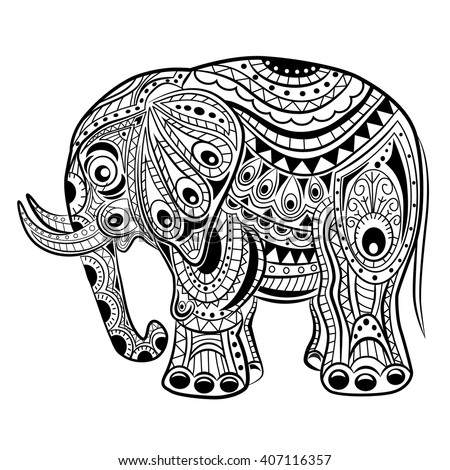 Hand Drawn Ink Zentangle Elephant For Relax And Meditation Vector Pattern Black White Illustration