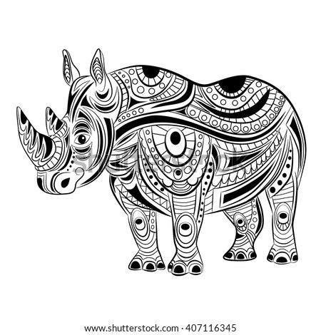 Hand Drawn Ink Zentangle Rhinoceros For Relax And Meditation Vector Pattern Black White Illustration