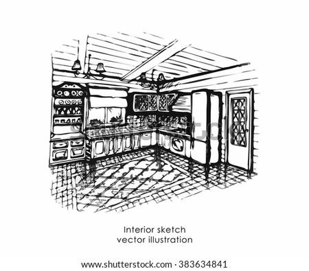 Hand Drawn Interior Sketch Home Design Stock Vector 383634832 ...