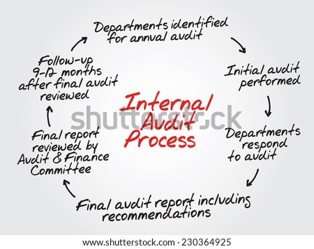 Hand drawn Internal Audit Process flow chart, diagram shapes - stock vector