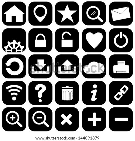Hand drawn internet and web icons  icons set - stock vector