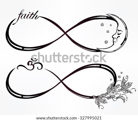 Hand drawn intricare infinity sign mini set in vintage retro style. Elegant tattoo art, romance, love, magic, freedom ,scrap cooking, textiles, invitations. Isolated vector illustration. - stock vector