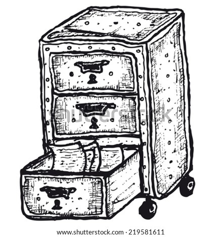 Hand drawn isolated furniture with drawers/ Illustration of a doodle hand drawn isolated furniture with drawers - stock vector