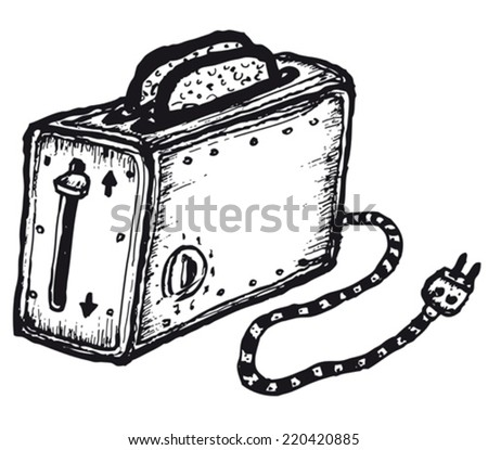 Hand drawn isolated toaster/ Illustration of a doodle hand drawn isolated toaster for bread - stock vector
