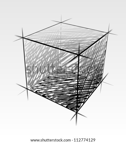 Hand drawn isolated vector cube - stock vector