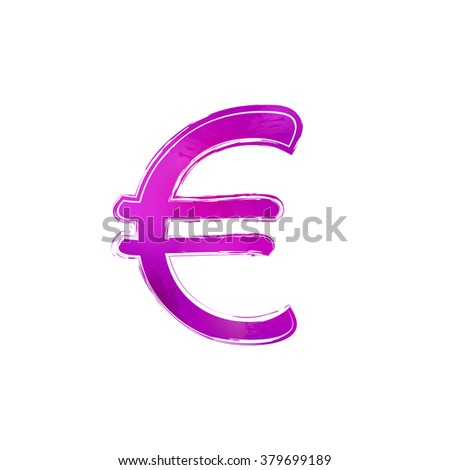Hand drawn isolated violet watercolor euro sign, white background. Design element illustration for web or typography (magazine, brochure, flyer, poster). EPS 10.