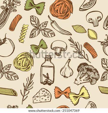Hand drawn Italian pasta seamless pattern. Colorful pasta, cheese, broccoli, garlic, chili pepper, rosemary, celery, olive oil, basil, champignon, tomato - stock vector