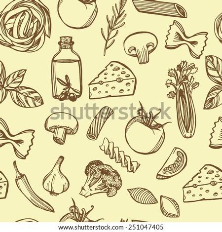 Hand drawn Italian pasta seamless pattern. Pasta, cheese, broccoli, garlic, chili pepper, rosemary, celery, olive oil, basil, champignon, tomato - stock vector