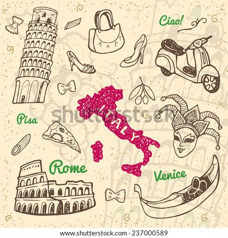 Hand drawn Italy symbols and landmarks set. Travel collection. - stock vector