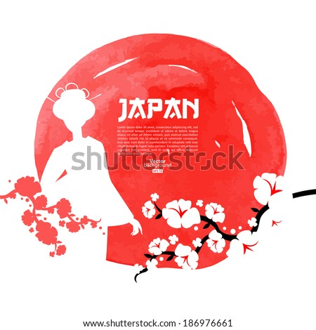 Hand drawn Japanese cherry illustration. Sketch and watercolor template background  - stock vector